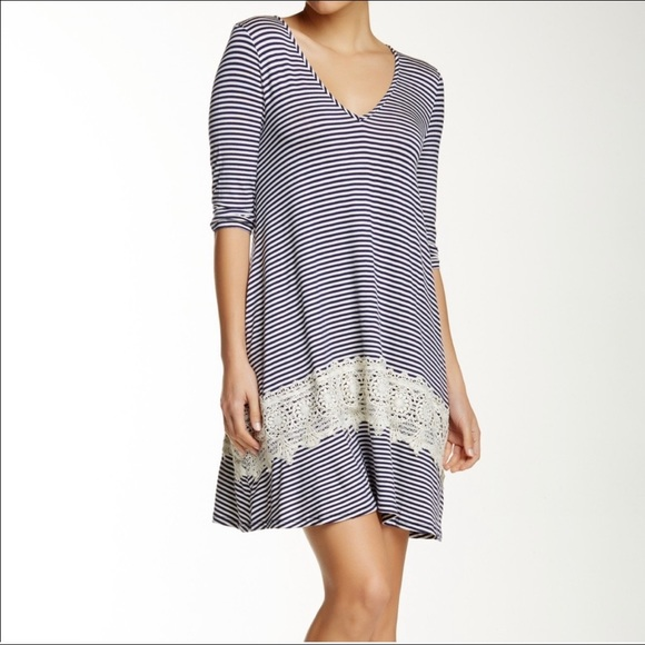 Anthropologie Everleigh Striped Lace Dress Size 8